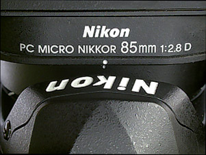 Click for a wider view of the 85mm PC on a Nikon D100