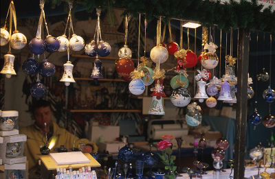 Christmas market stand in the city of Villingen, Germany