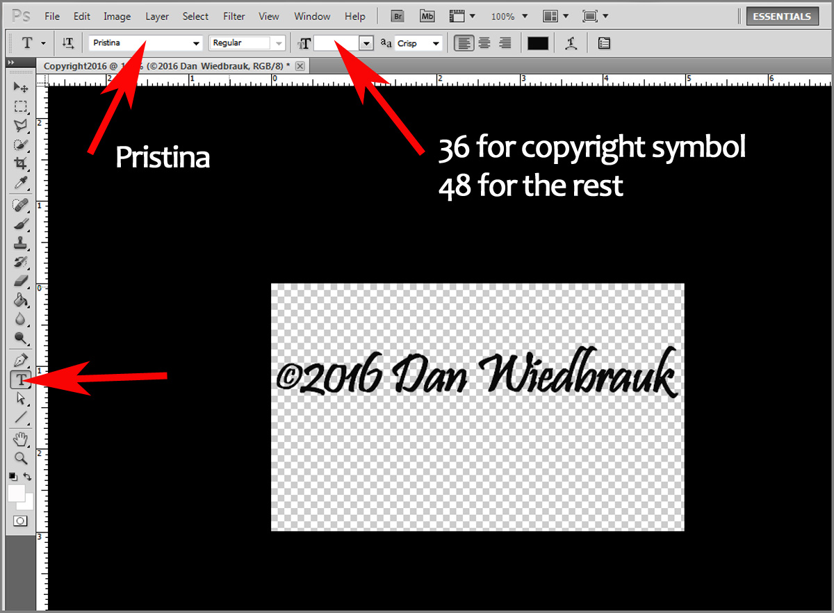 Making a copyright brush in photoshop step 2 enter the text buycottarizona Choice Image
