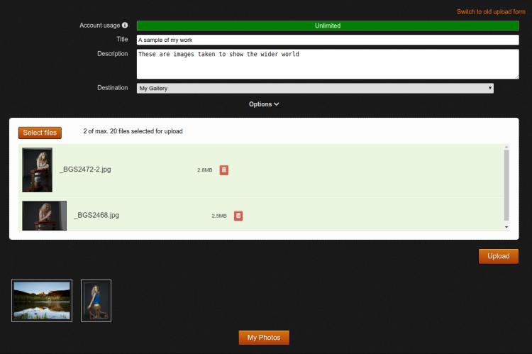 Image upload screen