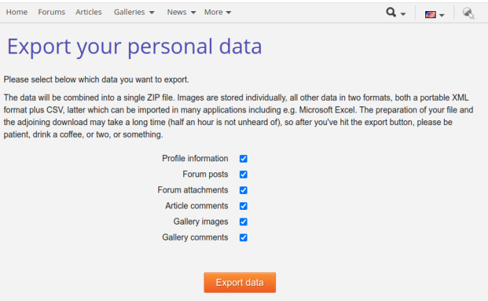 Screenshot: Export your data stored at Nikonians